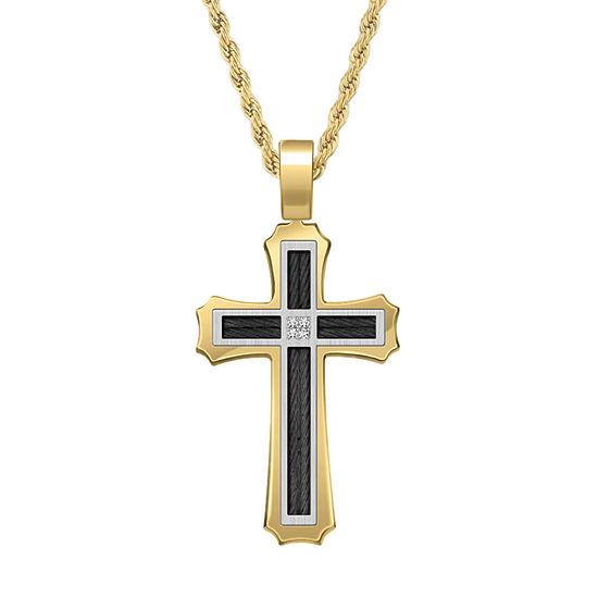 1/10 CT. T.W. Genuine White Diamond Stainless Steel Cross Jewelry Set