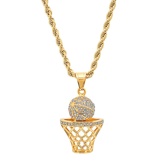 Steeltime Basketball Mens 2 1/4 CT. T.W. Simulated White Cubic Zirconia 18K Gold Over Stainless Steel Pendant Necklace