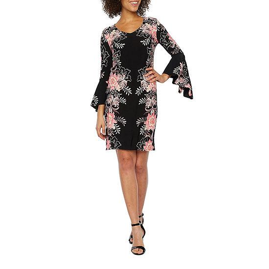 MSK 3/4 Sleeve Floral Shift Dress