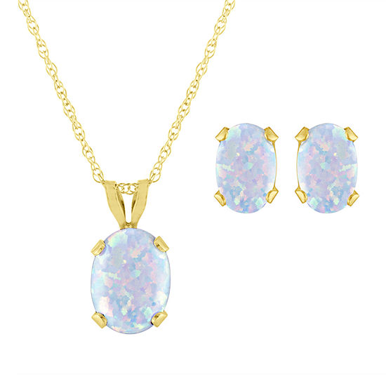 Lab Created White Opal 10K Gold 2-pc. Jewelry Set