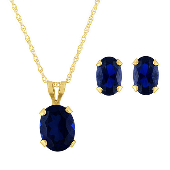 Lab Created Blue Sapphire 10K Gold 2-pc. Jewelry Set