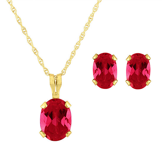 Lab Created Red Ruby 10K Gold 2-pc. Jewelry Set
