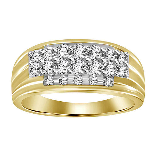 Mens 1 CT. T.W. Genuine White Diamond 10K Gold Wedding Fashion Ring
