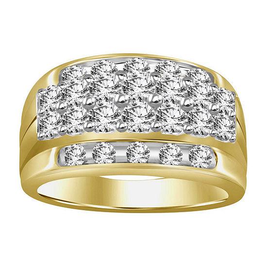 Mens 2 CT. T.W. Genuine White Diamond 10K Gold Wedding Fashion Ring