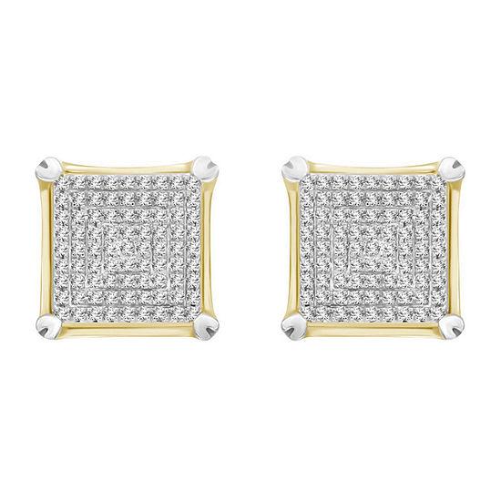 1/2 CT. T.W. Genuine White Diamond 10K Gold 13mm Stud Earrings