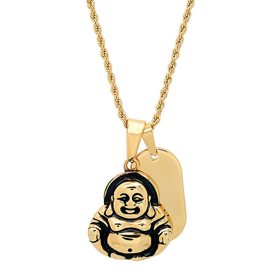 Steeltime Mens 18K Gold Over Stainless Steel Pendant Necklace