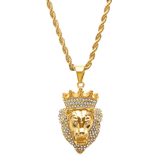 Steeltime Mens 1/2 CT. T.W. Simulated White Cubic Zirconia 18K Gold Over Stainless Steel Crown Pendant Necklace