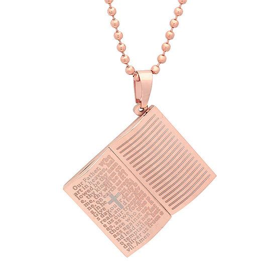 Steeltime Mens 18K Rose Gold Over Stainless Steel Pendant Necklace