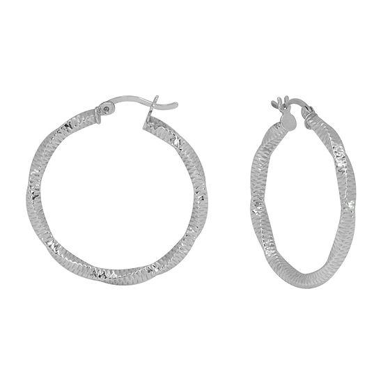 Sterling Silver 30mm Round Hoop Earrings