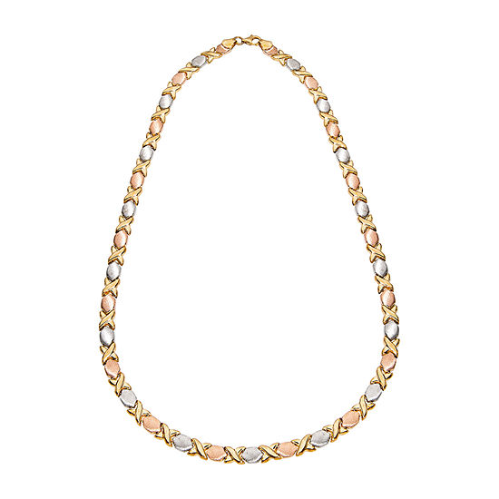 Womens 18 Inch 14K Gold Over Silver Link Necklace