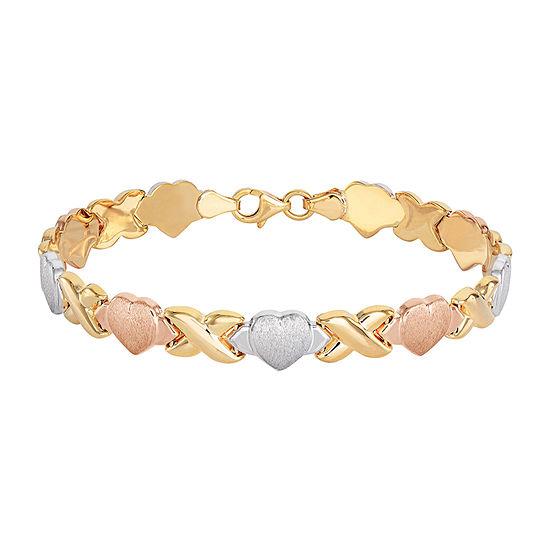 14K Tri-Color Gold Over Silver 7.5 Inch Stampato Heart Link Bracelet