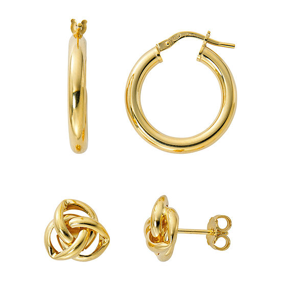 Made in Italy 24K Gold Over Silver 2 Pair Earring Set