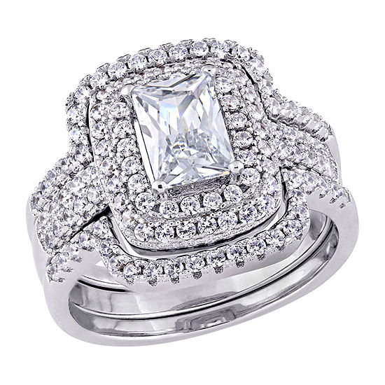 Womens 4 CT. T.W. White Cubic Zirconia Sterling Silver Ring Sets