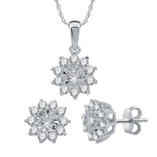 1 CT. T.W. Genuine Diamond Sterling Silver Jewelry Set