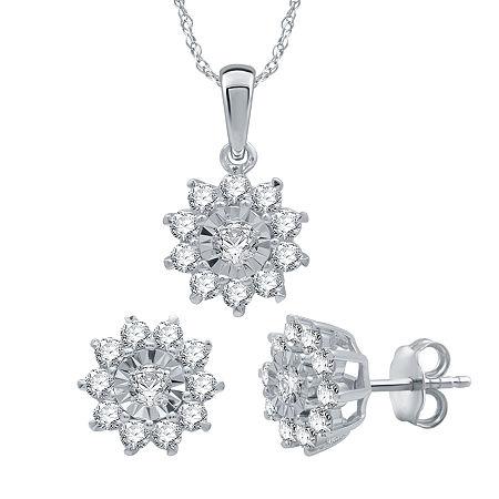1 CT. T.W. Genuine Diamond Sterling Silver Jewelry Set, One Size