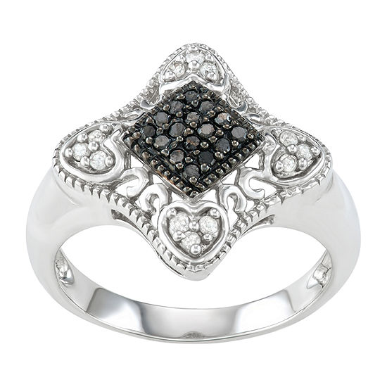 Womens 1/5 CT. T.W. Genuine Black Diamond Sterling Silver Promise Ring
