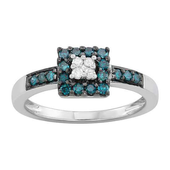 Womens 1/3 CT. T.W. Genuine Blue Diamond Sterling Silver Promise Ring