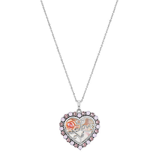 Womens Pink Mother Of Pearl Sterling Silver Heart Pendant Necklace