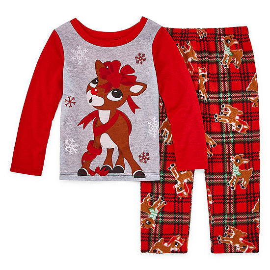 North Pole Trading Co. Rudolph Family Girls 2-pc Pant Pajama Set Toddler