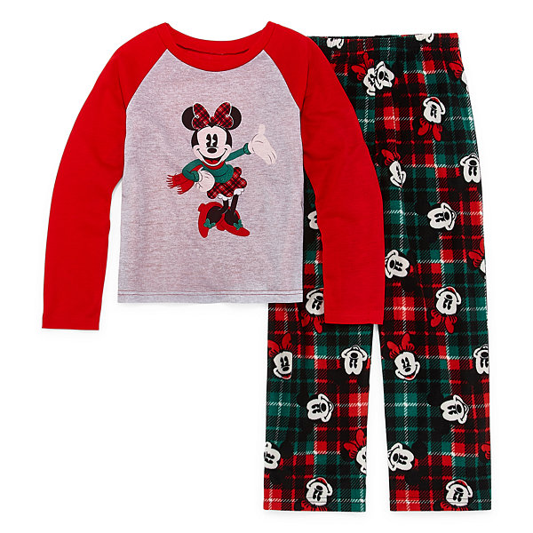 Disney Mickey Mouse Family Graphic Tee Girls 2 Piece Pajama Set - Preschool/Big Kid