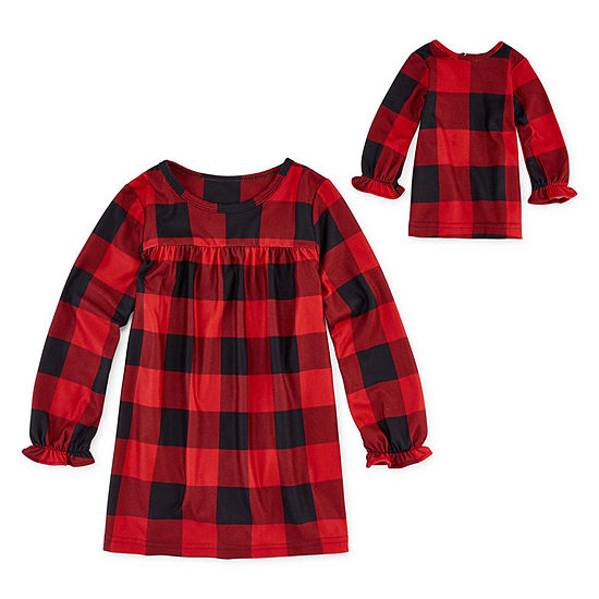North Pole Trading Co. Buffalo Plaid Family Toddler Girls Flannel Long Sleeve Round Neck Nightgown