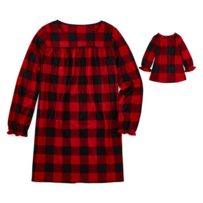 North Pole Trading Co. Buffalo Plaid Family Girls Plus Flannel Nightgown Long Sleeve Round Neck