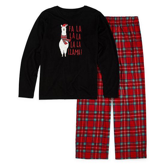 North Pole Trading Co. Fa La Llama Family Unisex 2-pc. Pant Pajama Set Big Kid Plus