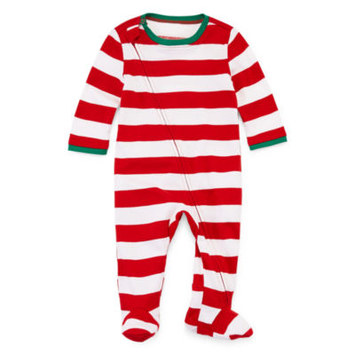 North Pole trading Co. Red and White Stripe Family 1 Piece Pajama - Unisex Baby
