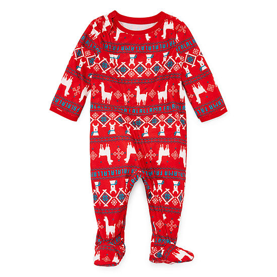 North Pole Trading Co. Llama Coat Front Family Unisex Microfiber Footed Pajamas Long Sleeve