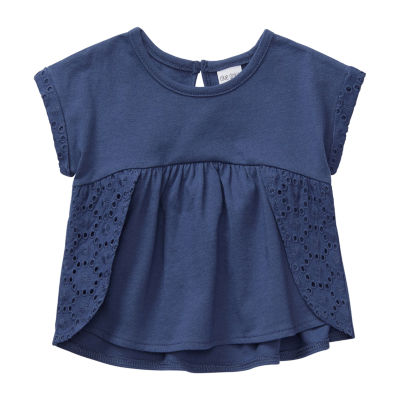 Okie Dokie - Baby Girls Round Neck Short Sleeve Peasant Top
