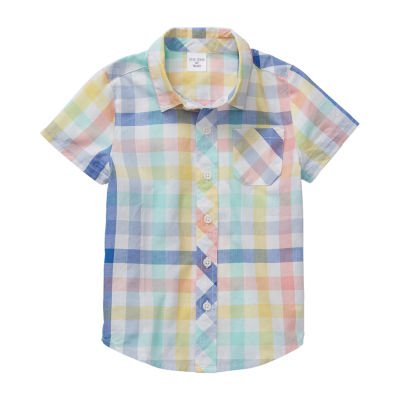 Okie Dokie Boys Short Sleeve Button-Front Shirt Toddler