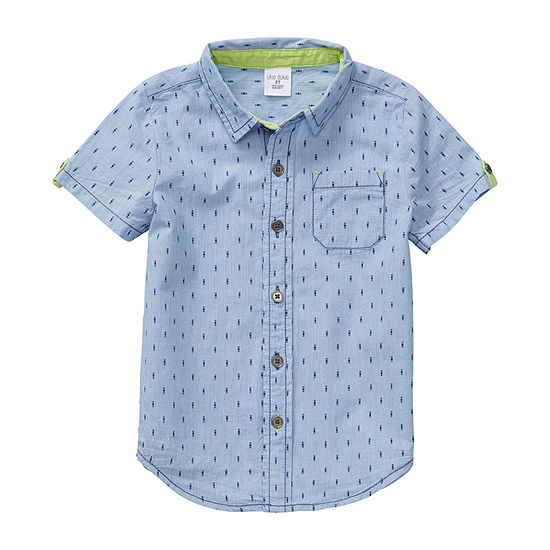 Okie Dokie Toddler Boys Short Sleeve Button-Down Shirt