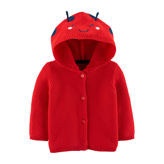 Carter's Baby Girls Hooded Neck Long Sleeve Button Cardigan