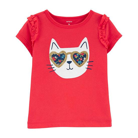 Carter's Toddler Girls Crew Neck Short Sleeve Graphic T-Shirt