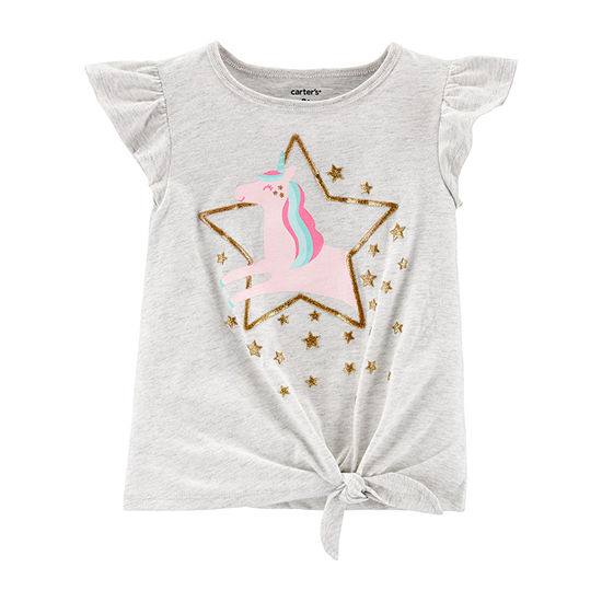 Carter's-Toddler Girls Crew Neck Short Sleeve Graphic T-Shirt