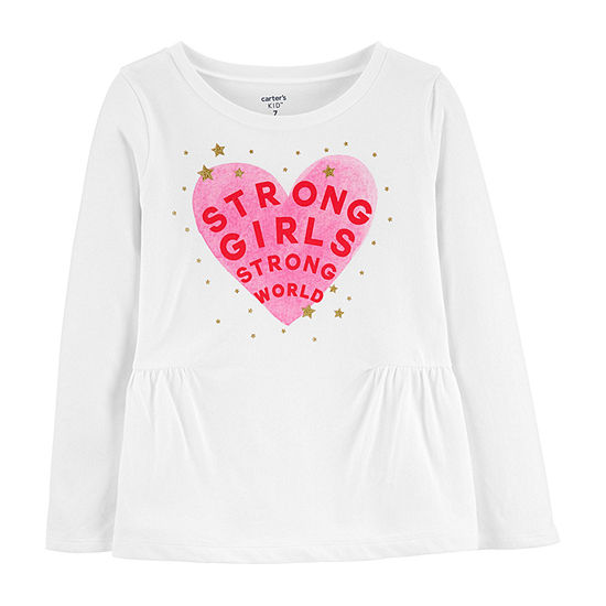 Carter's Girls Crew Neck Long Sleeve Graphic T-Shirt - Preschool / Big Kid