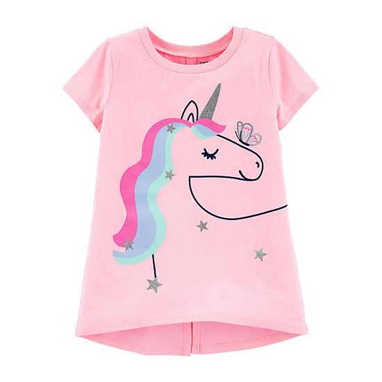 Carter's Girls Crew Neck Short Sleeve Graphic T-Shirt - Little Kid / Big Kid