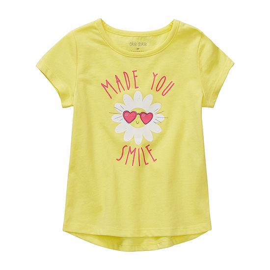Okie Dokie Girls Round Neck Short Sleeve T-Shirt-Preschool