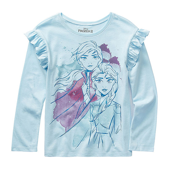 Disney 2 Little & Big Girls Crew Neck Frozen Long Sleeve Graphic T-Shirt