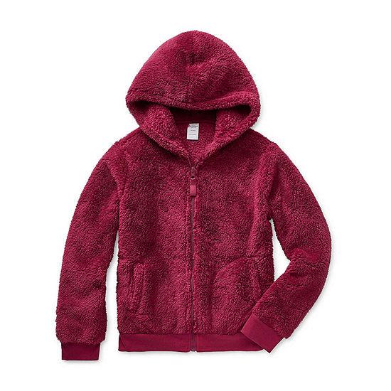 Arizona Little Kid / Big Kid Girls Faux Shearling Hooded Lightweight Jacket