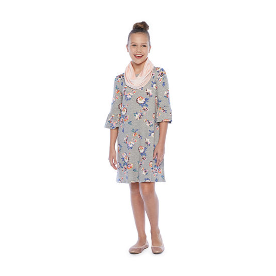 Arizona 2-pc. Girls 3/4 Sleeve Bell Sleeve Floral A-Line Dress - Preschool / Big Kid