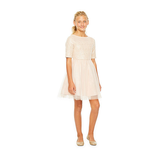 Lilt Little Girls Elbow Sleeve Fitted Sleeve Party Dress