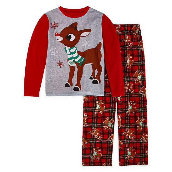 North Pole Trading Co. Rudolph Family Little & Big Boys 2-pc. Pant Pajama Set