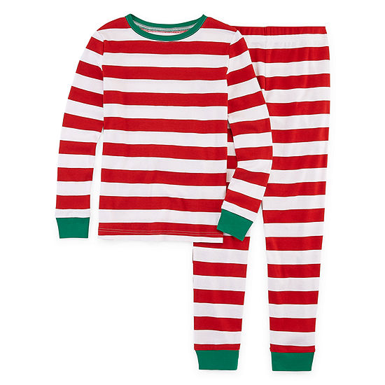 North Pole Trading Co. Red And White Stripe Family Little Kid / Big Kid Unisex 2-pc. Pant Pajama Set