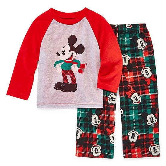 Disney Mickey Mouse Family Graphic Tee Boys 2 Piece Pajama Set - Toddler