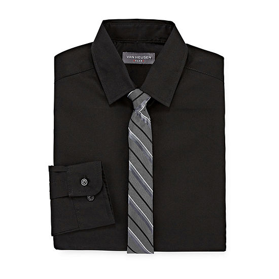 Van Heusen Big Boys Button Down Collar Long Sleeve Shirt + Tie Set