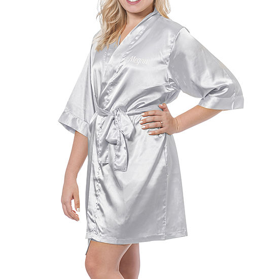 Cathy's Concepts Personalized Womens Satin Kimono Robes 3/4 Sleeve Short Length