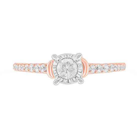 Womens 3/8 CT. T.W. Genuine White Diamond 10K Rose Gold Solitaire Cocktail Ring
