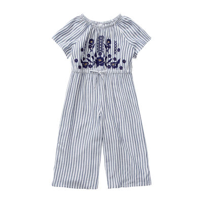 Okie Dokie Girls Embroidered Jumpsuit - Toddler