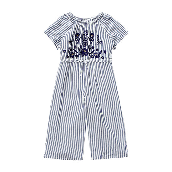 Okie Dokie Toddler Girls Short Sleeve Embroidered Jumpsuit